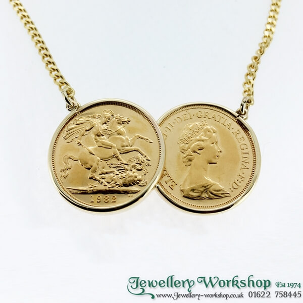 dc71955f11704 9ct Gold Double Coin Sovereign Necklace
